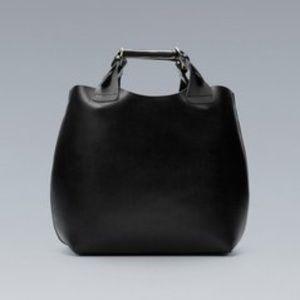 Rare Zara Black  Braided Shopper Tote Bag